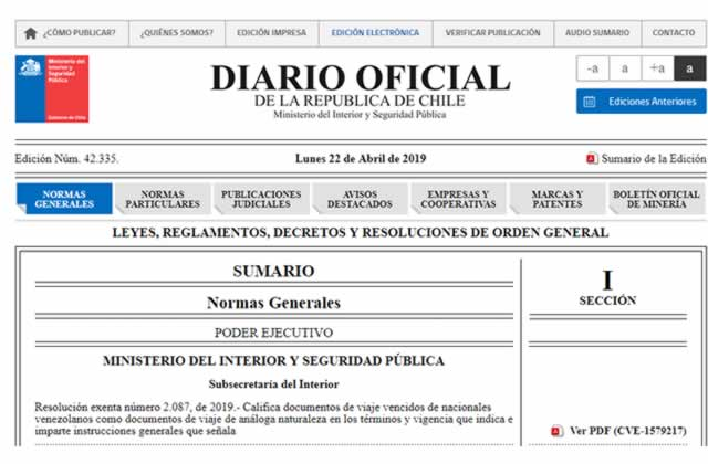 Chile acepta pasaportes vencidos